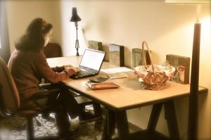 Writer Fiona Leonard in her studio