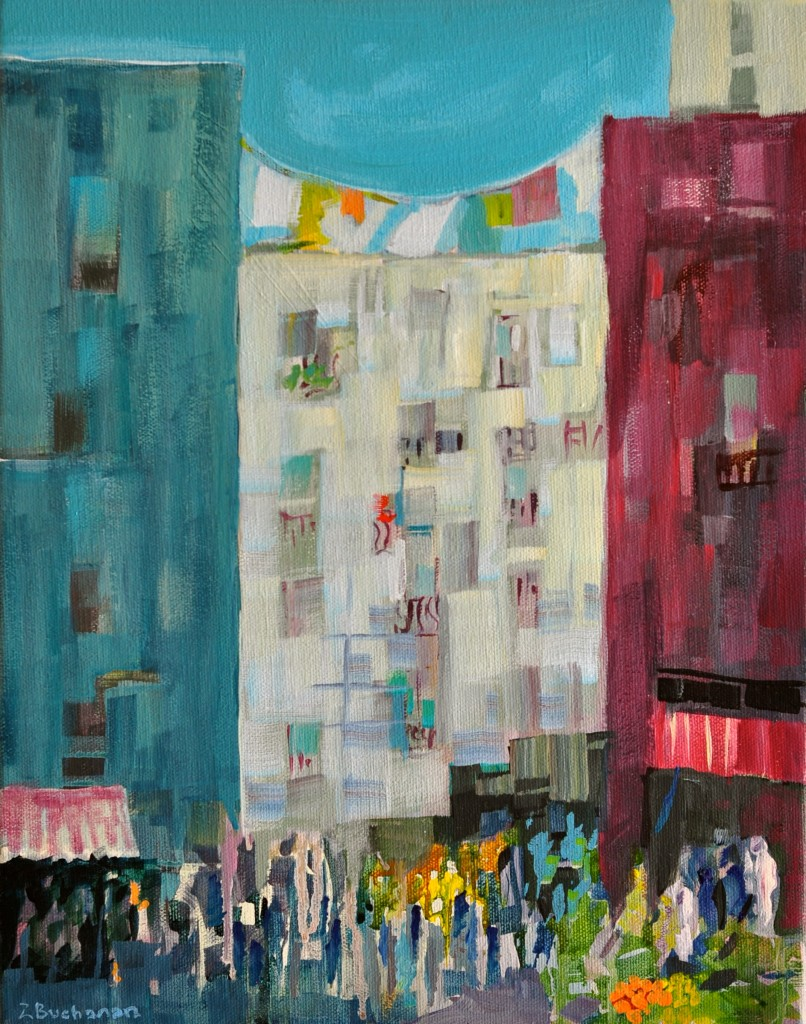 Moroccan Metropolis - acrylic on canvas by Zora Buchanan