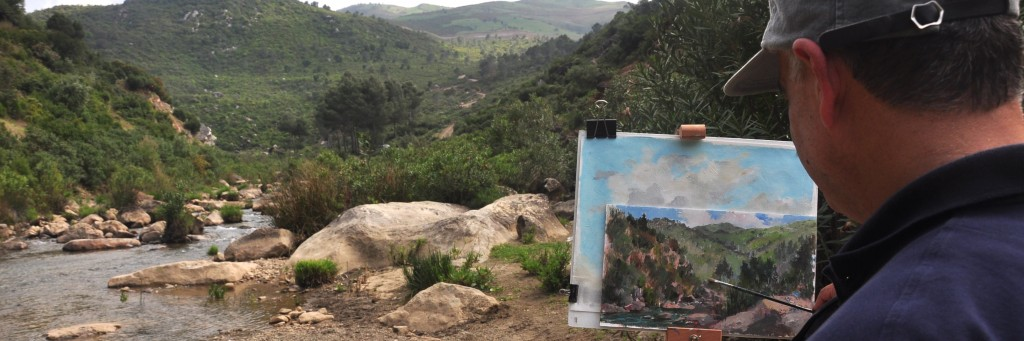 Plein Air Morocco - Sam painting the creek