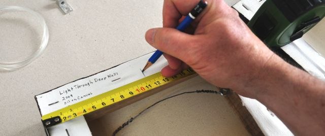 Mark the center of the top with a line. Remember it is always worth it to measure twice.