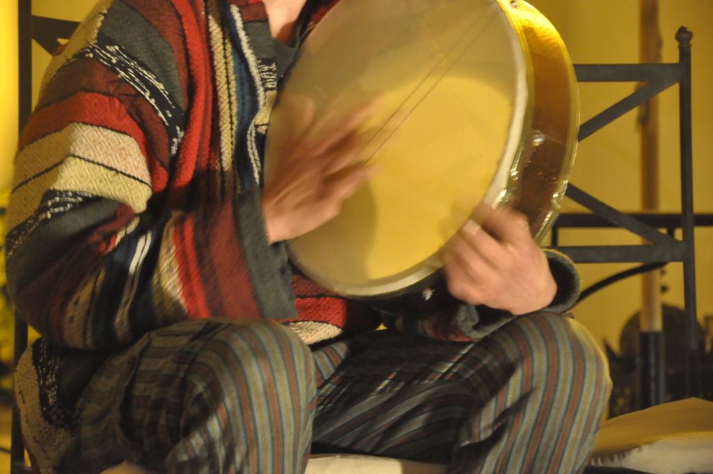 "Chester playing the ""bee"" drum"